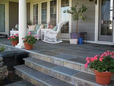 New stone patio steps front porches 69 ideas Concrete Porch, Porch Tile, Front Porch Design, Stone Porches, Front Porch Stone, Front Porch, Front Door Steps, Stone Flooring, Front Porch Steps