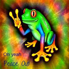 """Peace out! (""""Peace out frog"""") Paz Hippie, Hippie Peace, Happy Hippie, Hippie Love, Hippie Style, Hippie Chick, Funny Frogs, Cute Frogs, Peace Love Happiness"""