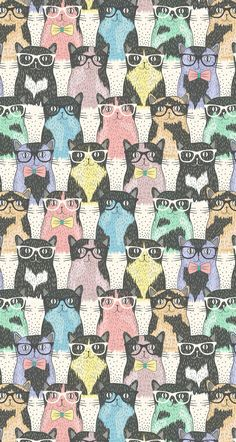 Hipster cat print by Dovile Kuusiene. Art And Illustration, Illustrations, Hipster Illustration, Crazy Cat Lady, Crazy Cats, Textures Patterns, Print Patterns, Hipster Cat, Hipster Drawings