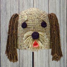 "DOG ❤ HAT for BABIES & CHILDREN ❤ Crochet pattern in ""Amigurumi Animal Hats"" by Linda Wright. http://amazon.com/dp/098009237X/"