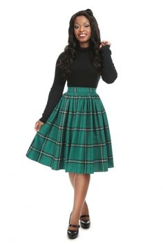 Collectif Clothing- Jasmine Evergreen Check Swing Skirt