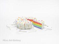 Rainbow cake earrings / cream cake in layers / mini food charm / miniature food…