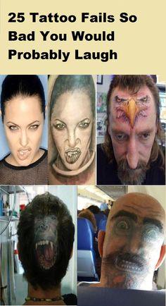 25 Tattoo Fails So Bad You Would Probably Laugh Tatoo Fail, Funny Tattoos Fails, Weird Tattoos, Ink Tattoos, Tatoos, Dumb People, Bizarre Art, Horror Art, Tattoo You