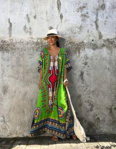 Ethnic kaftan Green dress Evening Dress Beach cover by stylepark1