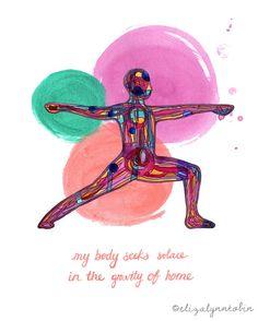 Yoga Art Body Gravity Print by ElizaTobin on Etsy