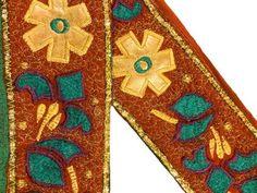 Sewing Trim & Edging Modest Sanskriti Vintage Saffron Sari Border Hand Embroidered Indian Craft Trim Lace