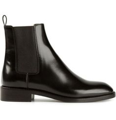 Black leather classic chelsea boots from Saint Laurent featuring a round toe, a pull tab at the rear, elasticated side panels and a low block heel. Black Chelsea Ankle Boots, Short Black Boots, Black Ankle Booties, Black Leather Boots, Leather Booties, Black Shoes, Low Boots, Wedge Boots, Beatle Boots