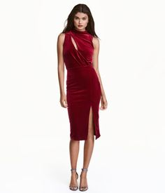 Sleeveless Velour Dress | Dark red | Ladies | H&M US