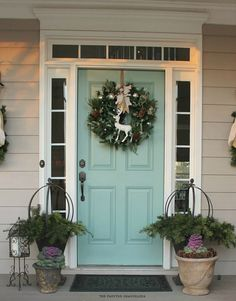 "Love this color door ""Mermaid Net"" - a beautiful soft aqua green by Behr (This door with gray shutters! Dark gray or medium gray?)"
