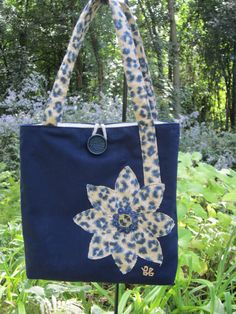 tote bag navy and tan leopard pattern by BerkshireCollection Jean Purses, Purses And Bags, Animal Print Tote Bags, Leopard Tote, Creative Bag, Denim Tote Bags, Bag Pattern Free, Tote Bags Handmade, Patchwork Bags