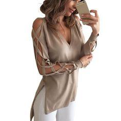 ZANZEA Sexy Bandage Creux Out Manches Longues Femmes Blouse Chemise 2016 printemps Automne V Cou Haute Low Split Tops Club Party Blusas dans   de   sur AliExpress.com | Alibaba Group