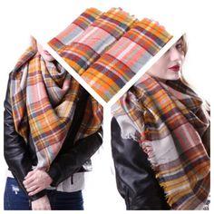 Orange Plaid Blanket Scarf (SOLD OUT)
