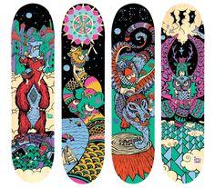 Skateboard decks for IFO by Aaron Glasson aka Rah Akaishi Painted Skateboard, Skateboard Deck Art, Skateboard Design, Surfboard Art, Vintage Skateboards, Cool Skateboards, Longboard Design, Ecology Design, Skate Art
