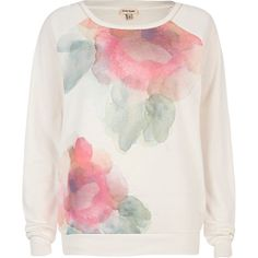 Cream watercolor floral print dolman top