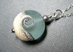 Ocean necklace, Ocean wave aqua pendant necklace, Lampwork necklace, Sterling silver, Handmade beach jewelry