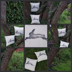 """NEW! Handmade + individually hand painted by Claire Webber, Hobart, Tasmania.  36cm """"Rabbit on the Run!"""" 100% natural organic linen/cotton .   Limited edition,   For more info email: webberclaire1@gmail.com"""
