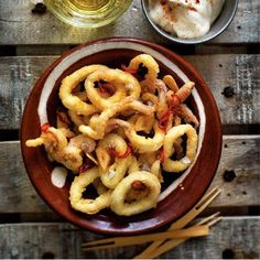 Calamari with fried garlic, chilli and lemon aioli This simple dish is one worth lingering over. The fried squid is beautifully crispy and g...