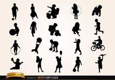 Set of Children silhouettes playing with different stuff like balls, toys, bike, planes, etc.Commons 3.0. Attribution License.