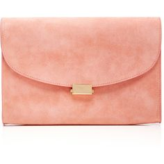Mansur Gavriel Coral Suede Envelope Flat Clutch ($695) ❤ liked on Polyvore featuring bags, handbags, clutches, purses, mansur gavriel, coral purse, envelope clutch bag, red handbags and red clutches