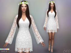 Bohemian wedding dress for the sims 4 by beo vestidos de noiva boêmio, sims Sims 4 Wedding Dress, Luxury Wedding Dress, Bohemian Wedding Dresses, Sims 4 Mods Clothes, Sims 4 Clothing, Sims Mods, Sims 4 Dresses, Sims4 Clothes, Sims 4 Cc Skin