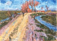 Johannes 'Johan' Dijkstra (Groningen A country road by Beijum - Dutch Art Gallery Simonis and Buunk Ede, Netherlands. Expressionist Artists, Expressionism, Dutch Painters, Post Impressionism, Dutch Artists, Classical Art, Vincent Van Gogh, Abstract Landscape, Art Images