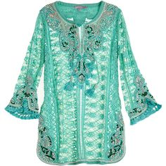 CALYPSO St. Barth Darchelle Embellished Lace Tunic (€90) found on Polyvore featuring women's fashion, tops, tunics, blouses, dresses, shirts, tops 2, jade cc, embroidered tunic and green sequin shirt