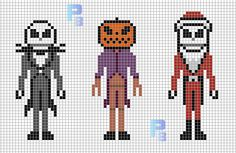Nightmare Before Christmas perler pattern - Patrones Beads / Plantillas para Hama/could be used as a cross stitch pattern