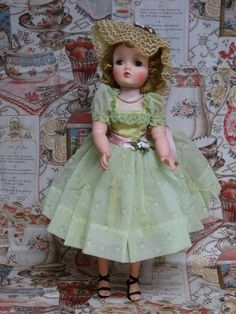 "VINTAGE MADAME ALEXANDER CISSY #2120 GARDEN PARTY 1950s TAGGED DRESS 20"""