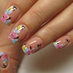 25 Trendy Floral Nail Art Designs for Summer Flower Nail Designs, Nail Designs Spring, Cool Nail Designs, Fancy Nails, Cute Nails, Pretty Nails, Gorgeous Nails, Spring Nail Art, Spring Nails