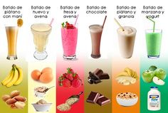 Batidos para aumentar la masa muscular Fruit Smoothies, Healthy Smoothies, Healthy Drinks, Smoothie Recipes, Healthy Nutrition, Healthy Tips, Gym Food, Fitness Diet, Food And Drink