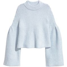 H&M Sweater with Trumpet Sleeves $34.99 ($35) ❤ liked on Polyvore featuring tops, sweaters, clothing - ls tops, h&m, blue mohair sweater, blue top, blue sweater and mohair sweaters