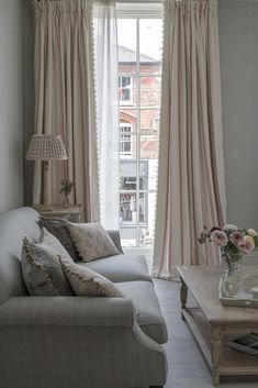 Our stylish classic Sofa is available upholstered in any of our fabrics by skilled craftsmen. Curtain Designs For Bedroom, Beautiful Curtains, Classic Sofa, Scandinavian Interior Design, Formal Living Rooms, Stores, Soft Furnishings, Apartment Living, Decoration