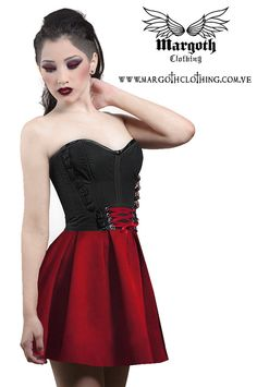 Gothic Red corset skater skirt high waisted by MargothClothing