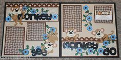 Monkey See Monkey do Brown Flowers Themed Premade Scrapbook Layout 2 Page 12x12 | eBay