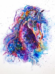 Gorgeous, colorful paintings by Emily Tan. Animal Drawings, Art Drawings, Different Kinds Of Art, Horse Artwork, Colorful Animals, Colorful Paintings, Pretty Art, Abstract Watercolor, Les Oeuvres
