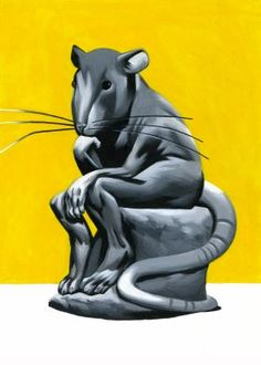rat thinker statue illustration funny rodin Animals