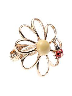 Ladybug on a Daisy Ring by Disaya on Guruwan.com | Ladybug on a Daisy RingMaterial: Gold Plated Brass, Solid Enamel and Clear Enamel