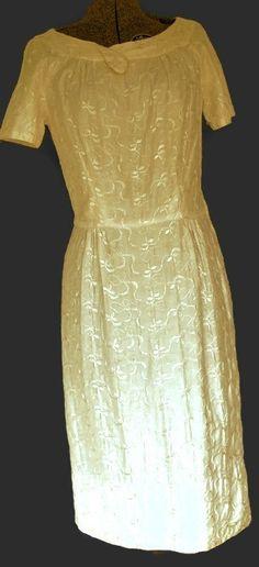 1950's White Brocade Sheath Dress