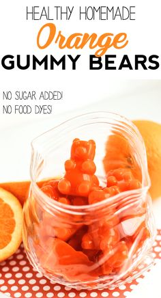 These Healthy Homemade Orange Gummy Bears are just like the storebought kinds -- they're soft sweet super chewy and bursting with bright orange flavor! You'd never know they're fat free refined sugar free gluten free and all natural. Paleo Dessert, Healthy Dessert Recipes, Candy Recipes, Healthy Snacks, Snack Recipes, Cooking Recipes, Orange Recipes Healthy, Gelatin Recipes, Healthy Sugar