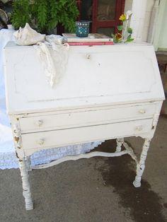 white  chippy painted white desk cottage by Vintagewhitecottage, $349.00
