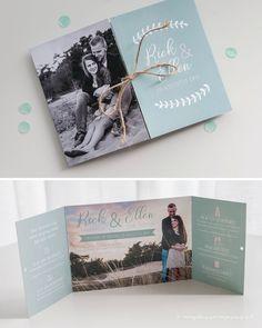 Trouwkaart Rick & Ellen • Trouwkaart op maat • Formaat: A6 luikvouw kaart • Standaard papier • Dubbelzijdig full colour bedrukt • Afwerking met touw en boorgaatjes