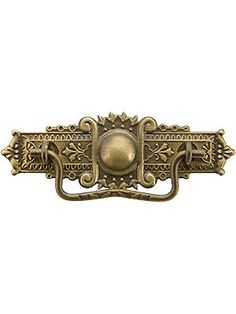 """3"""" Eastlake Style Bail Pull in Antique-By-Hand Finish -- $11 -- backplate measures 5"""" wide by 1 7/8"""" tall."""