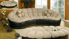 Round-Sectional-Sofa-Couch-Curved Rounded-Modular-Modern-Ottoman Set-Piece-Bed