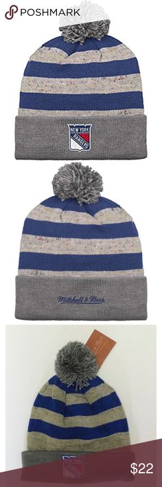 Mitchell & Ness New York Rangers Pom Knit Beanie Mitchell & Ness New York Rangers Fashion Color Slate Pom Knit Beanie One Size   Brand : Mitchell & Ness   Color : Slate/Blue/Red   Size : One size fits all   Material : 100% Acrylic   Team : New York Rangers   100% Authentic   Pom knit   Cuffed   New York Rangers logo patch embroidered on the front cuff   Mitchell & Ness logo embroidered in red on the back cuff   Light gray base   Dark gray cuff   Red/Blue stripe wrapping around the beanie…