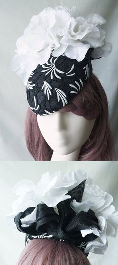 Black and White Floral Beret fascinator headpiece hat for Mother of the Bride, Kentucky Derby Oaks day, Melbourne Cup or Royal Ascot. Fascinators for the races. Racing fashion. Fashions on the field. With lace pattern and Silk Flowers. #kentuckyderby #fascinators #motherofthebride #weddings #racingfashion #passion4hats #floralhats #royalascot #ascothats #ascotoutfits #derbyoutfits #affiliatelink #ebayfinds #melbournecup