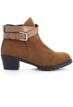 Strapped Faux Suede Ankle Boots in Camel - Shoes - Goods - Retro, Indie and Unique Fashion