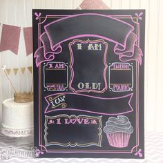 Blank Erasable Milestones Chalkboard for girl, cake smash photo prop, reusable monthly/ yearly chalkboard birthday stats sign handlettered by ChalkityChalk on Etsy
