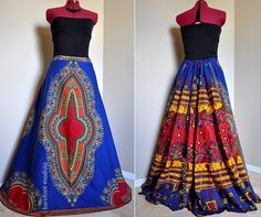 Blue+Noon++Long+African+Patchwork+Skirt+Ethnic+by+BarefootModiste,+$119.00