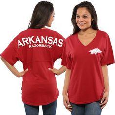 Women's Cardinal Arkansas Razorbacks Short Sleeve Spirit Jersey V-Neck Top