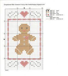 Cross Stitch Happy: Gingerbread Man Scissors Fob